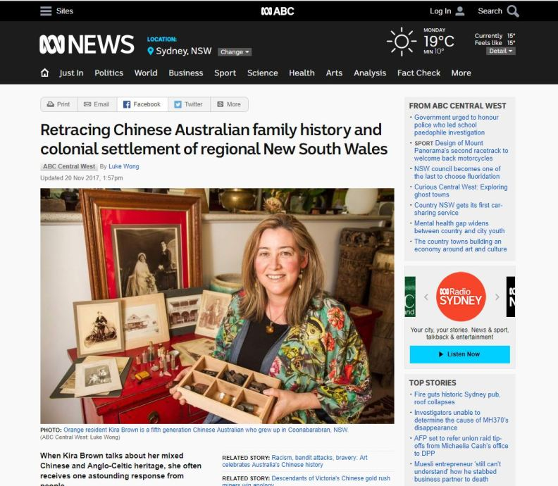 Retracing Chinese Australian family history and colonial settlement of regional New South Wales