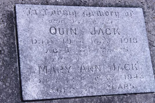 Tombstone Chen Quin Jack & Mary Fuller