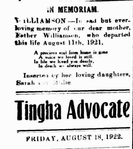 Memorial to Esther McClureTingha Advocate Fri 18 Aug 1922
