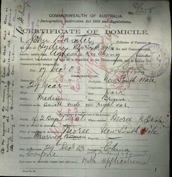 Agnes Kee Chong Certificate of Domicile