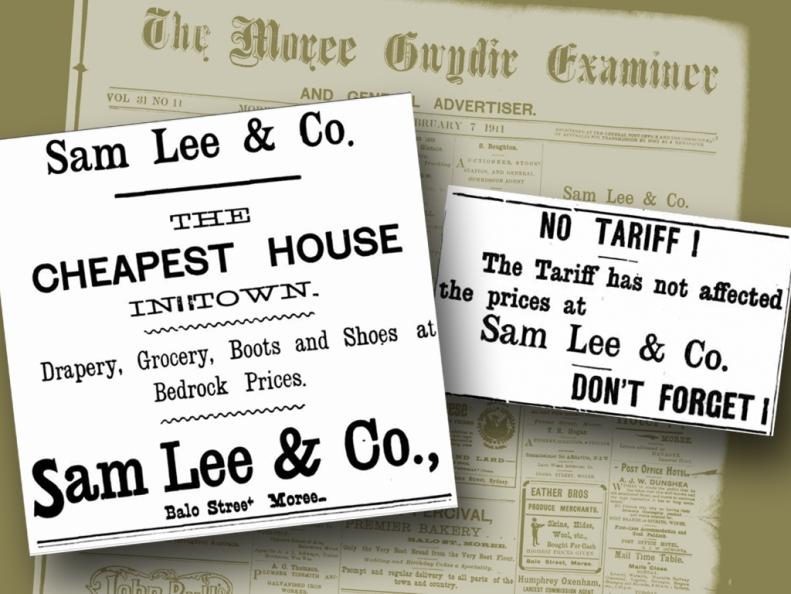 Sam Lee & CO Moree Advert 1900