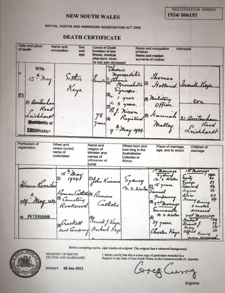 Death Certificate Esther Kee